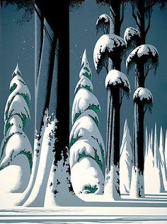 Yosemite - Eyvind Earle - Eyvind Earle was an American artist, author and illustrator, noted for his contribution to the background illustration and styling of Disney animated films in the Born: April New York City Died: July 2000 Art And Illustration, Gravure Illustration, Landscape Illustration, Eyvind Earle, Drawn Art, Poster Design, Graphic Design, Design Design, Graphic Art