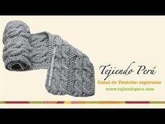 Bufanda con trenzas reversibles para caballero tejida en dos agujas o palitos - YouTube