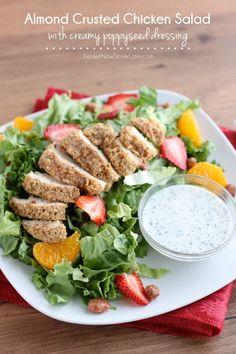 Almond Crusted Chicken Salad with Creamy Poppyseed Dressing | DessertNowDinnerLater.com #almond #almondflour #salad #dressing #greekyogurt #chicken