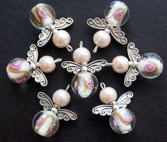 6x-Pink-Handmade-Guardian-Angel-Charms-Pendants-Lampwork-Flower-Round-Beads