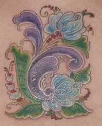 Norwegian Rosemaling Tattoo.     Oh I SOO Need to get a tat like this!