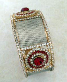 Indian Goddess Bangle Bracelet Beautifully ornate with imitation diamond and ruby arrays.  Handmade in India.