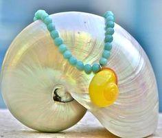 Amazonite & Yellow Snail Shell Necklace