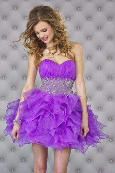 2014 Homecoming Dresses Purple Short/Mini Sweetheart A Line Organza Beadings&Sequins