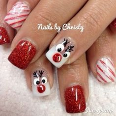 Christmas Reindeer Nails The WHOot