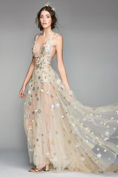 Main Image - Willowby Orion Tulle & Charmeuse Plunging A-Line Gown Bridal Dresses, Wedding Gowns, Prom Dresses, Formal Dresses, Bridesmaid Dresses, Club Dresses, Long Dresses, Wedding Venues, Looks Party