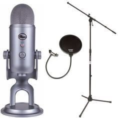 Blue Microphones Yeti USB Microphone with Mic Stand and Pop Filter for Broadcasting & Recording Microphones (Space Gray Monotone)