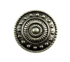 Wheel and Beads Metal Shank Buttons in Nickel Silver Color - 15mm - 5/8 inch
