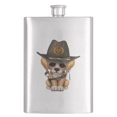 #Cute Golden Retriever Puppy Zombie Hunter Hip Flask - #golden #retriever #puppy #retrievers #dog #dogs #pet #pets #goldenretriever