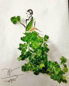 Chàng MC thể hiện khả năng thiết kế và óc sáng tạo qua những tác phẩm thời trang đầy nghệ thuật. Diy Fashion Drawing, Arte Fashion, Unique Drawings, Paper Artwork, Fruit Art, Flower Fashion, Diy Painting, Food Art, Creative Art