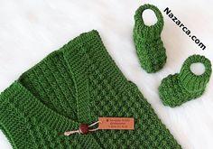 YELEĞİ PATİĞİ VE ŞAPKASI ÇİĞ TANESİ BEBEK ÖRGÜLERİ | Nazarca.com Baby Knitting Patterns, Hat Patterns, Baby Vest, Crochet Baby, Tulum, Baby Shoes, Crocheting, Crochet For Baby, Romper