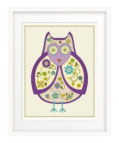 Take a look at this Purple Flowered Owl Print on zulily today!