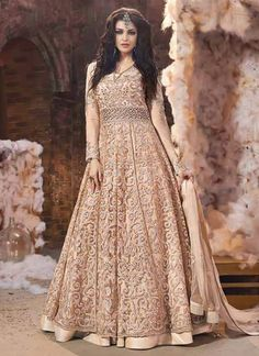 Buy Light Peach Net Layered Anarkali Suit online, SKU Code: SLSCC18001. This Peach color Wedding anarkali suit for Women comes with Embroidered Net. Shop Now!