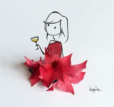 virgola_ (®) red girl with wine Flower Petals, Flower Art, Vincent Bal, Creative Artwork, Stick Figures, Arte Floral, Little Doll, Medieval Art, Cute Drawings