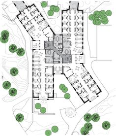 hotel arquitectura Gallery of HELIX, Forensic Psychiatric Clinic of Stockholm / BSK Arkitekter - 17 Healthcare Architecture, Education Architecture, Concept Architecture, School Architecture, Architecture Design, Architecture Drawing Plan, Hospital Floor Plan, Hospital Plans, General Hospital