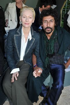 Front Row at Chanel Resort    Tilda Swinton and Haider Ackermann  Photo by Stephane Feugere
