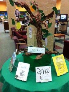"CRJH Library April display - Visit our ""Poet-tree"""