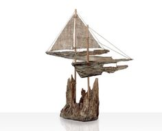 Driftwood Sailboat Nautical Decor Beach Finds by Yourbeautifulhome