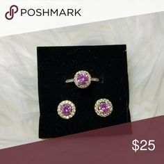 18k gold plated ring and earring set Ring size is 7 Center stone color is light pink 18k gold plated Never used More pictures available upon request 💕 Feel free to make an offer 💖 Jewelry