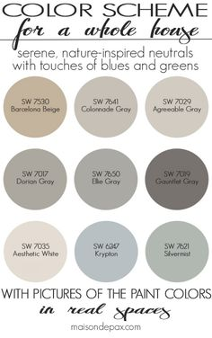 A color scheme for a whole house! See paint colors in real spaces in this home tour full of lovely, nature-inspired neutrals with touches of blues and greens. I think the most common question I… Living Room Decor Colors, Bedroom Paint Colors, Exterior Paint Colors, Paint Colors For Home, Wall Colors, House Colors, Paint Colours, Wall Exterior, Diy Exterior