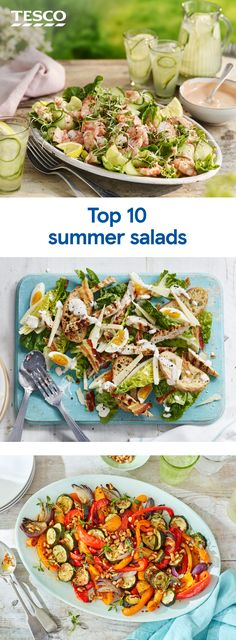 Take summer salads up a notch with these flavour-packed recipes. Revamp a classic creamy chicken Caesar for a lighter lunch, or get your fill of summer veg with a colourful roasted pepper and courgette salad for a taste of the Mediterranean. Summer Salad Recipes, Healthy Salad Recipes, Summer Salads, Lunch Recipes, Paleo Recipes, Cooking Recipes, Cooking Ideas, Salads Up, Little Lunch