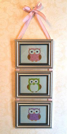 Kids Room Nursery Pastel Owl Picture by BirdieGirlsTreasures: CUTE