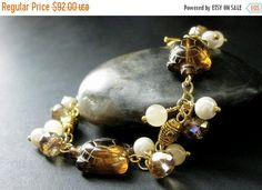 SUMMER SALE Amber Turtle Bracelet. Tortoise Bracelet with Amber Glass Turtles. Pearl Bracelet. Crystal Bracelet. Gemstone Bracelet. Handmade by Gilliauna from Bits n Beads by Gilliauna. Find it now at http://ift.tt/2tCivi9!