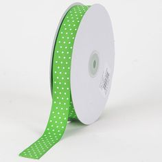 Apple Green with White Dots Grosgrain Ribbon Swiss Dot 3/8 inch 50 Yards -- See this great product.