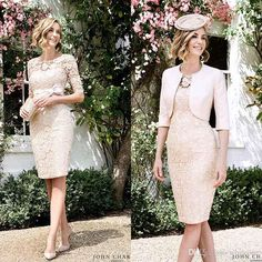 Mother Of Bride Plus Size Dresses 2016 Knee Length Mother Of Bride Dresses With Jacket 3/4 Long Sleeve Sheath Lace Champagne Mother Formal Evening Gowns Custom Made Plus Mother Of The Bride Dresses From Whiteone, $110.08| Dhgate.Com
