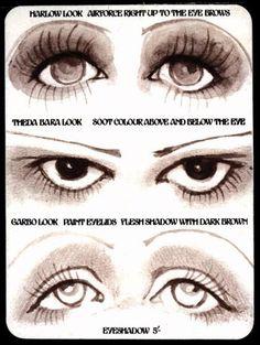 the 30s film star eye makeup cheat sheet