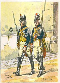 French; Imperial Guard, Gendarme d'Elite, Brigadier & Gendarme á Cheval, Foot Patrol of the Camp de Boulogne,  1804