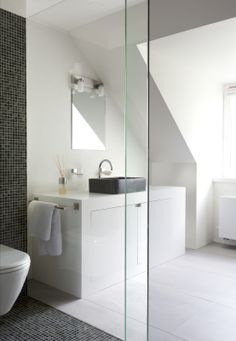 more white bathroom. Attic Bathroom, Laundry In Bathroom, Master Bathroom, Mosaic Bathroom, Dream Bathrooms, Beautiful Bathrooms, Modern White Bathroom, Minimal Bathroom, Small Bathroom Storage