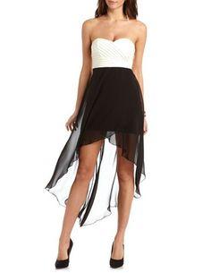 Pleated Bust Hi-Low 2-Fer Dress: Charlotte Russe•.¸¸.•♥ ✿⊱╮ ♥*♥ ღԼ♡√є it♡•.¸¸.•♥