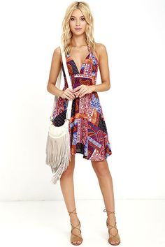 Sew Cute Red Print Halter Dress at Lulus.com!