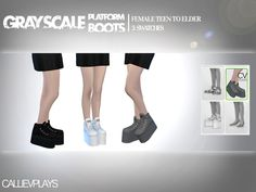The Sims Resource: Grayscale Platform Ankle Boots by CallieV • Sims 4 Downloads