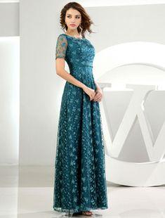 Robe dentelle mère-de-la-mariée manches courtes vert foncé parole longueur robe fête de mariage a-line Robes pour les invités de mariage