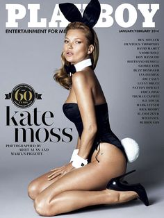 Kate Moss in an iconic bunny suit during her feature in Playboy's 60th anniversary issue in January 2014.