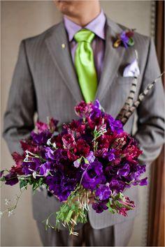purple wedding bouquet by janie medley of thebridescafe.com