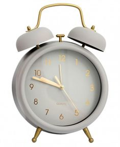 ALARM CLOCK: A traditional twin bell style metal alarm clock in a matt grey finish complete with gold effect detailing a simple yet eye catching design, perfect to wake sleepy heads everywhere! Cute Alarm Clock, Alarm Clock Design, Retro Alarm Clock, Cute Clock, Vintage Alarm Clocks, Grey Clocks, Cute Bedroom Decor, Cream Aesthetic, Indie Room