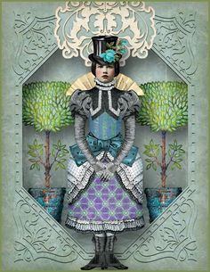 Altered with trees, paper doll and lace