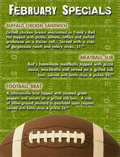 February 2011 monthly specials #Football #SuperBowl #SuperbowlFood
