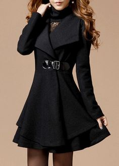Classy Turn Down Collar Winter Coat. For more pins follow me at Modern Styles!