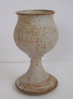 Studio Pottery Goblet Chalis Oatmeal Glaze White Cream Rusty Brown Speckled