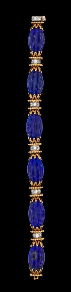 A Van Cleef & Arpels gold, lapis lazuli and brilliant cut diamond bracelet, tot. app. 1.50 cts. 1960's.  18k gold.