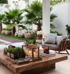 60 ideas on how to decorate the terrace- 60 Ideen, wie Sie die Terrasse dekorieren können Modern terrace design with low table - Outdoor Living Rooms, Outdoor Spaces, Outdoor Decor, Outdoor Lounge, Outdoor Kitchens, Living Spaces, Outdoor Ideas, Outdoor Lighting, Backyard Patio