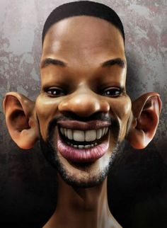 This is a known as a Caricature of Will Smith. Will is known for having big ears and a elongated head shaped. Caricatures exaggerate certain features to the extreme.