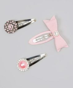 Take a look at this Pink Rhinestone Bow Snap Clip Set by Olivia Rae on #zulily today!