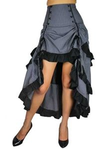 Steampunk clothing skirt. High waist-banded skirt features an ankle-length tail at the back with three tiers of ruffles, the edges of the ruffles are trimmed with black fabric, with a large bow detail at the back, waterfall ripples to behind the knee, slightly gathered and raised at two points by twin ribbons coming down from the waist, with some buttons on the waist, a side zipper. Standard size approx. length: 39 inches