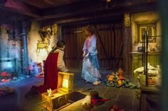 Cinderella at Efteling Park in the Netherlands.  When the Prince slips the glass slipper on her foot, Cinderella's dress lights up.