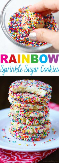 Rainbow Sprinkle Sugar Cookies are great gift for a neighbor or teacher! Put them on a pretty plate, cover with clear plastic and stick a bow on top. A tasty gift for someone special this holiday season. (on holiday seasons) Sprinkle Cookies, No Bake Cookies, Cake Cookies, Cupcakes, Cookie Recipes, Dessert Recipes, Cookie Tips, Baking Desserts, Sweet Desserts